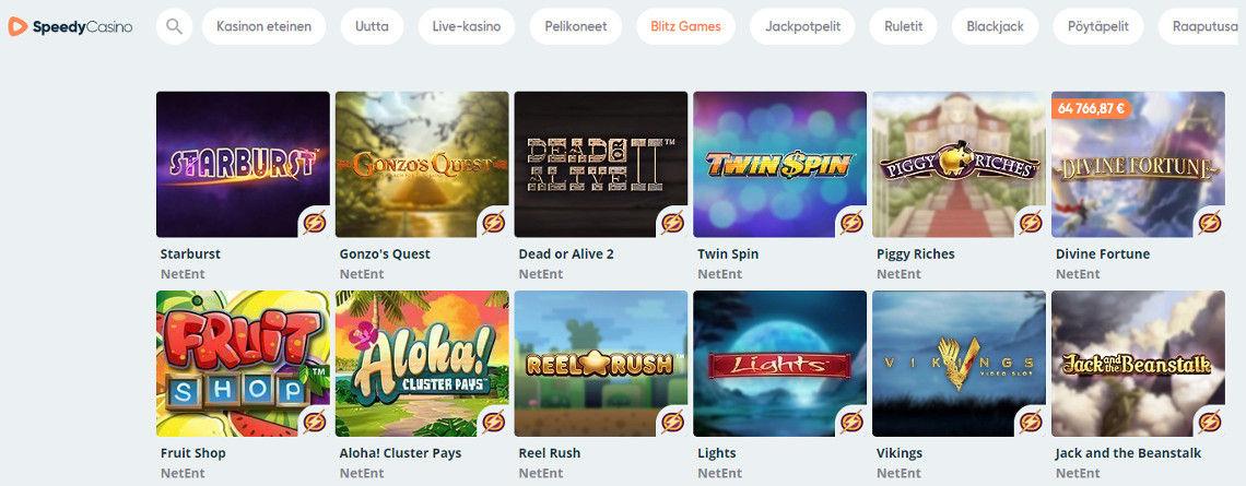 Speedy Casinolta löytyy myös blitz-tilassa pelattavia pelejä