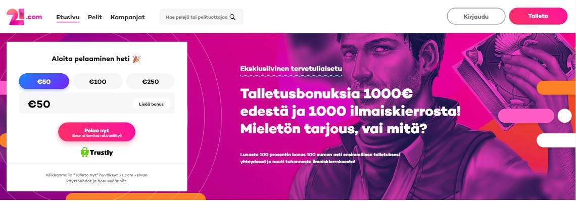 21.com casino bonus tarjoaa 1000€ bonusta