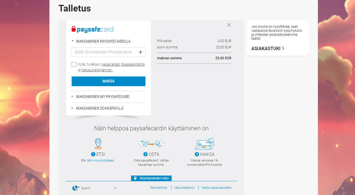 Paysafe kasino talletus on helppo ja vaivaton prosessi